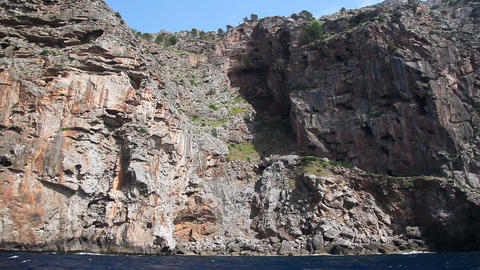 Rocky seashore of Mallorca Island, Balearic Islands, Spain Stock Video Footage