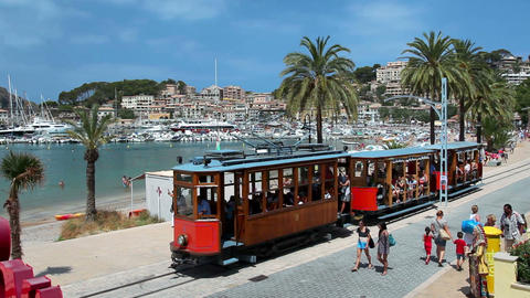 Old tramway and bay in Port de Soller, Mallorca Island,... Stock Video Footage