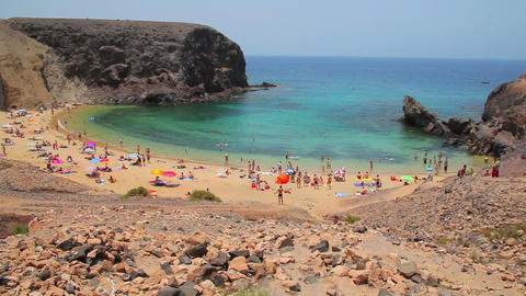 Papagayo beach on Lanzarote Island, Spain Stock Video Footage
