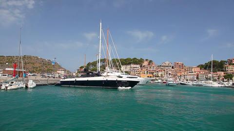 Yachts in Port de Soller, Mallorca Island, Spain Stock Video Footage
