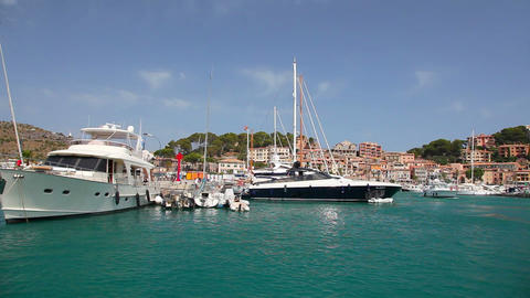 Yachts In Port De Soller, Mallorca Island, Spain stock footage