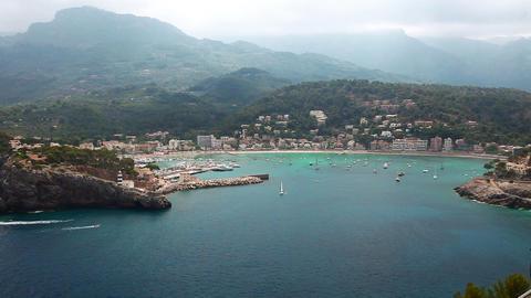 Beautiful bay in Port de Soller, Mallorca Island, Spain Stock Video Footage
