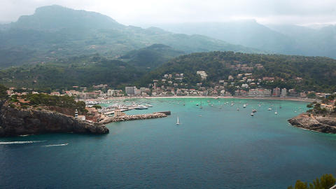 Beautiful bay in Port de Soller, Mallorca Island, Spain Stock Video Footage