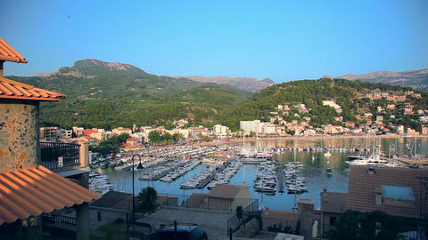 Marina in Port de Soller, Mallorca Island, Spain Stock Video Footage