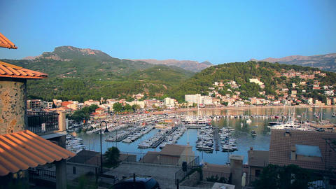 Marina in Port de Soller, Mallorca Island, Spain Footage