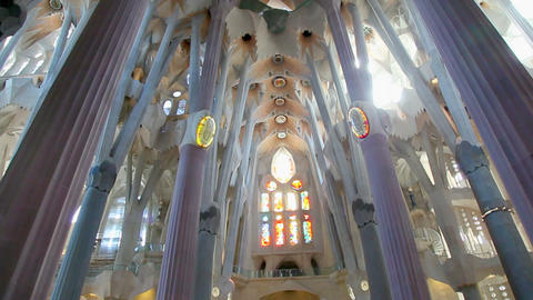 Sagrada Familia in Barcelona, Catalonia, Spain Stock Video Footage