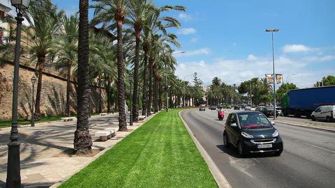 Street next to port in Palma de Mallorca, Mallorca... Stock Video Footage