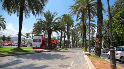 Street next to port in Palma de Mallorca, Mallorca... Stock Video Footage