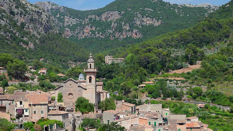 Valldemossa village, Mallorca Island, Spain Stock Video Footage