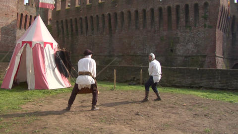 medieval sword duel 01 Stock Video Footage