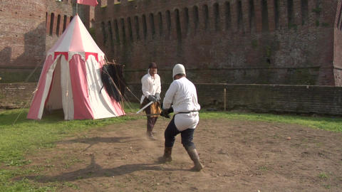 Medieval Sword Duel 01 stock footage