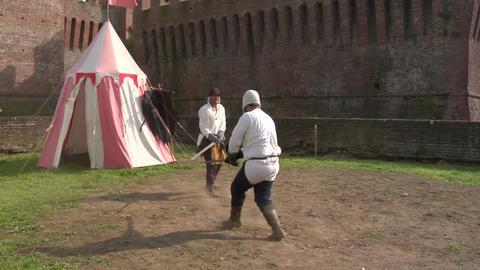 medieval sword duel 01 Footage