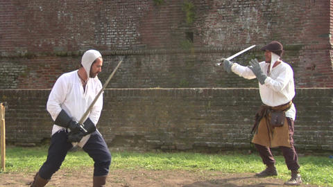 medieval sword duel 03 Stock Video Footage