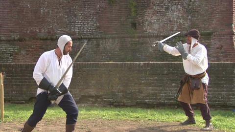 medieval sword duel 03 Stock Video Footage
