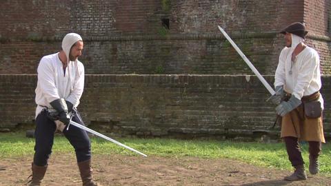 medieval sword duel 03 Footage