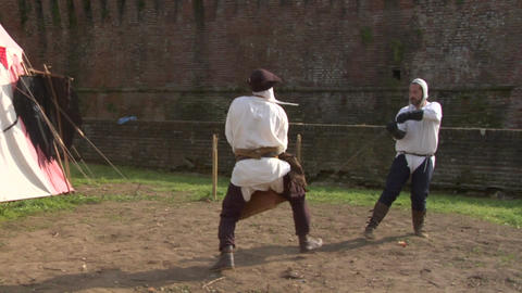 medieval sword duel 05 Stock Video Footage