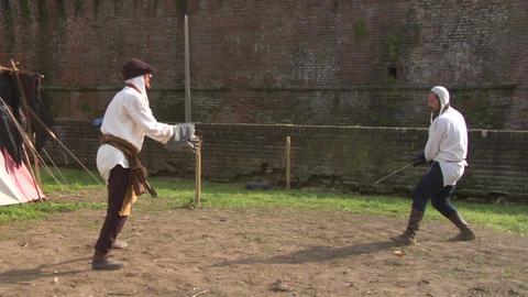 medieval sword duel 05 Stock Video Footage