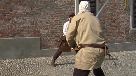 medieval sword duel 11 Stock Video Footage