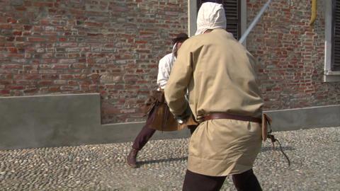 medieval sword duel 11 Stock Video Footage