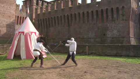 Medieval Sword Duel Slow 01 stock footage