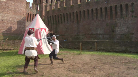 medieval sword duel slow 01 Stock Video Footage