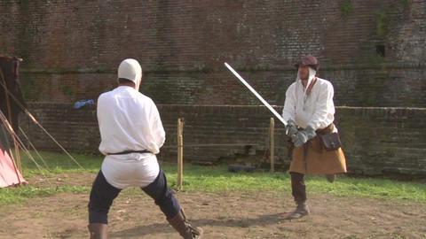 medieval sword duel slow 03 Stock Video Footage