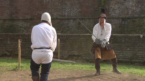 medieval sword duel slow 03 Stock Video Footage