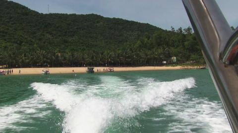 Speed Boat Wake Tropical Island Horizon Stock Video Footage