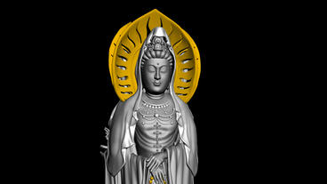 Rotation of 3D Guanyin Buddha Sculpture.religion,statue,goddess,female,pray,cult Animation