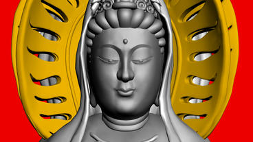Moving of 3D Guanyin Buddha Sculpture.religion,statue,goddess,female,pray,cultur Animation