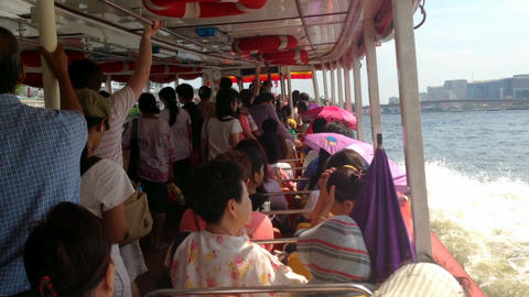 BANGKOK - CHAO PHRAYA BOAT EXPRESS Stock Video Footage