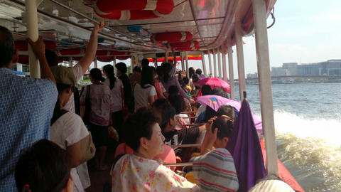 BANGKOK - CHAO PHRAYA BOAT EXPRESS Stock Video Footage