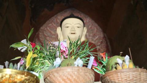 Buddha inside pagoda in Bagan Stock Video Footage