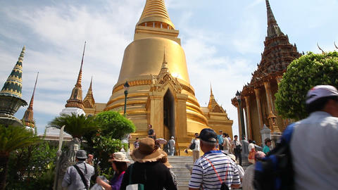 Visitors in Grand Palace, Bangkok, Thailand Footage