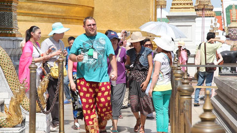 Visitors in Grand Palace, Bangkok, Thailand Footage