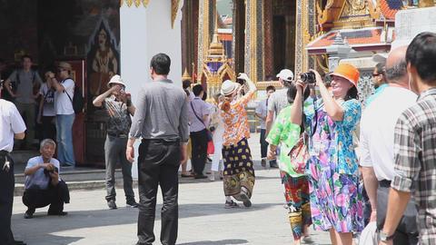Visitors in Grand Palace, Bangkok, Thailand Stock Video Footage