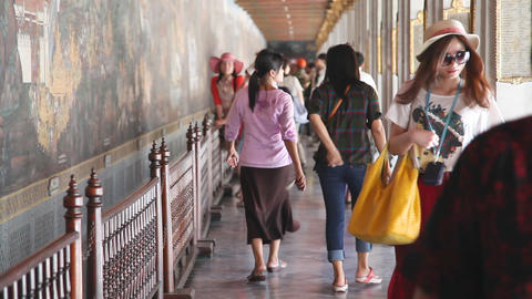 Visitors In Grand Palace, Bangkok, Thailand stock footage