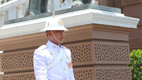 Soldier in Grand Palace, Bangkok, Thailand Stock Video Footage
