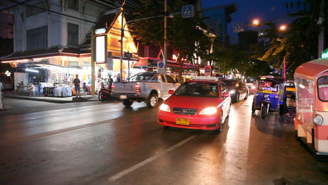 Tuk-Tuk on night street in Bangkok Footage