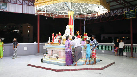 Visitors in Chauk Htatt Ghyee Pagoda Footage