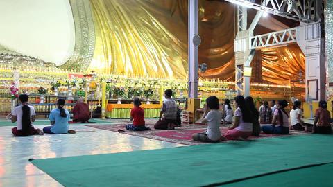 Visitors in Chauk Htatt Ghyee Pagoda Stock Video Footage