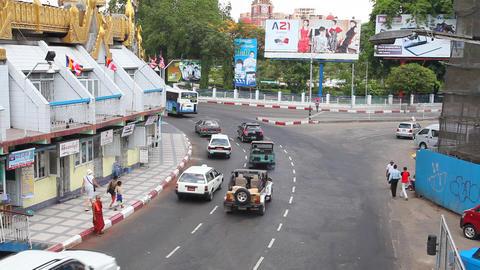 Street in Yangon, Myanmar Stock Video Footage