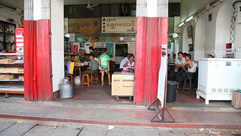 Fastfood cafe in Yangon Stock Video Footage
