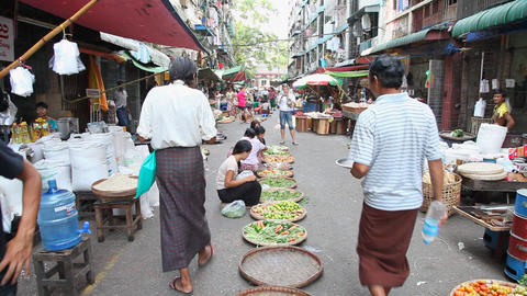Street market in Yangon, Myanmar Stock Video Footage
