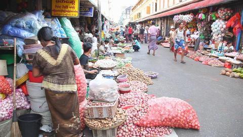Street market in Yangon, Myanmar Footage