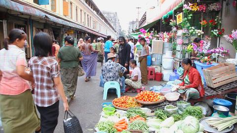 Street market in Yangon, Myanmar Stock Video Footage