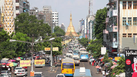 Street in Yangon, Myanmar Stock Video Footage