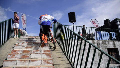 Stairs to starting ramp Stock Video Footage