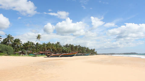 Boat on tropical coast Stock Video Footage