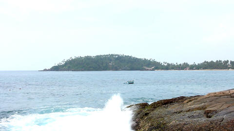 Boat on Sea in Mirissa Beach Stock Video Footage